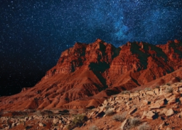 landscape with red sandstone and starry sky